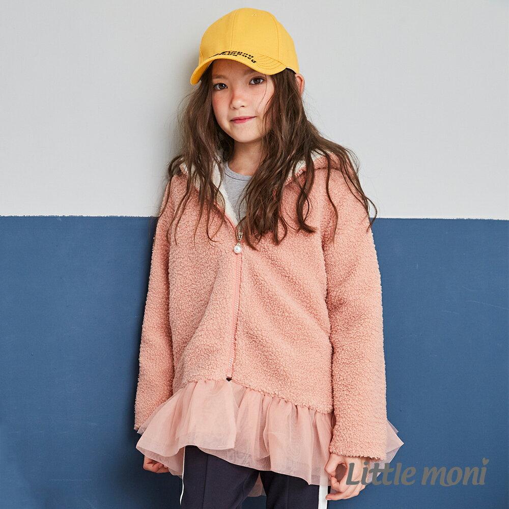 Little moni 連帽毛毛網紗外套-粉紅 1