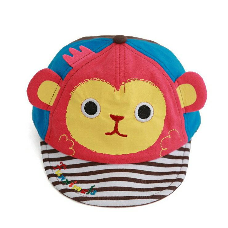 Funnimals◆可愛大耳猴立體耳朵卡通條紋帽兒童鴨舌帽-粉色