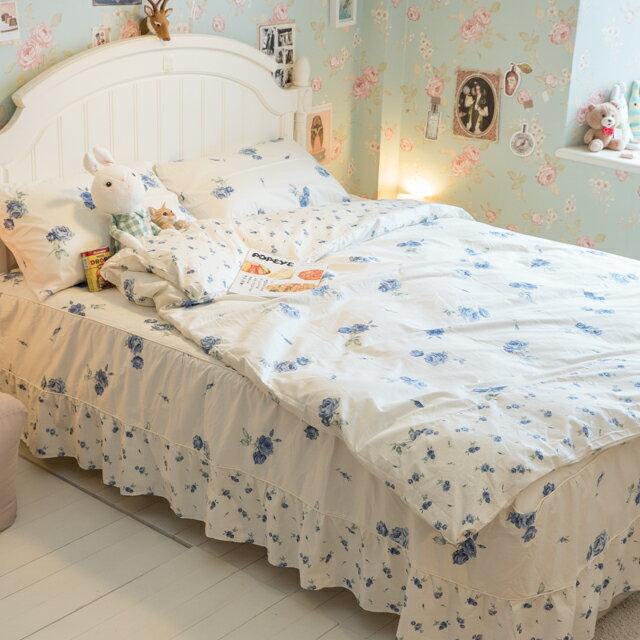 藍莓花園  雙人加大鋪棉床裙三件組 100%精梳棉 台灣製 6