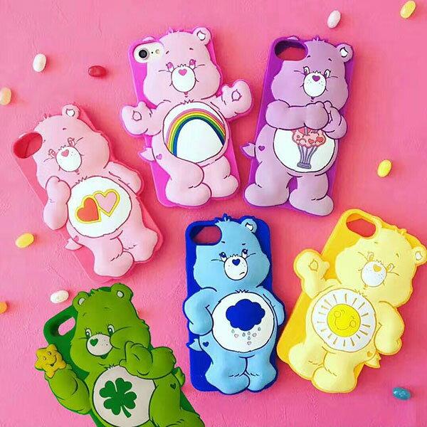 Carebears 彩虹熊 指環掛繩 手機殼 iPhone 6 7 plus 保護套 矽膠 軟殼 韓國 ANNA S.