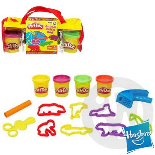 【Playwoods】[培樂多黏土PLAYDOH]動物野營旅行袋 創意手提袋組Animal Duffel Bag(內含4罐黏土&11件模具-孩之寶)