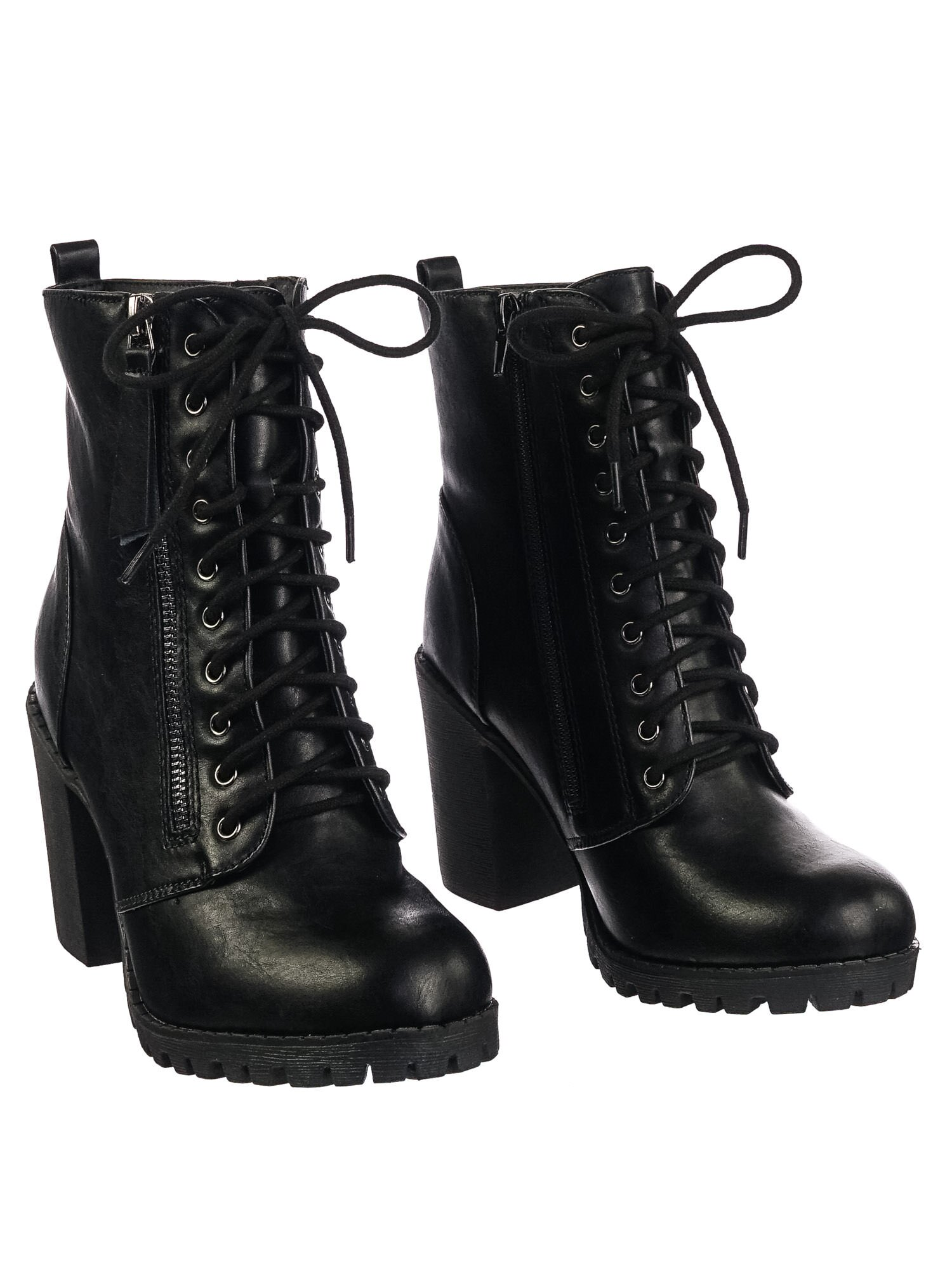 28ca9e077a0c Malia Black Pu by Soda Military Lace Up Combat Ankle Boot On Chunky Block  Heel Lug