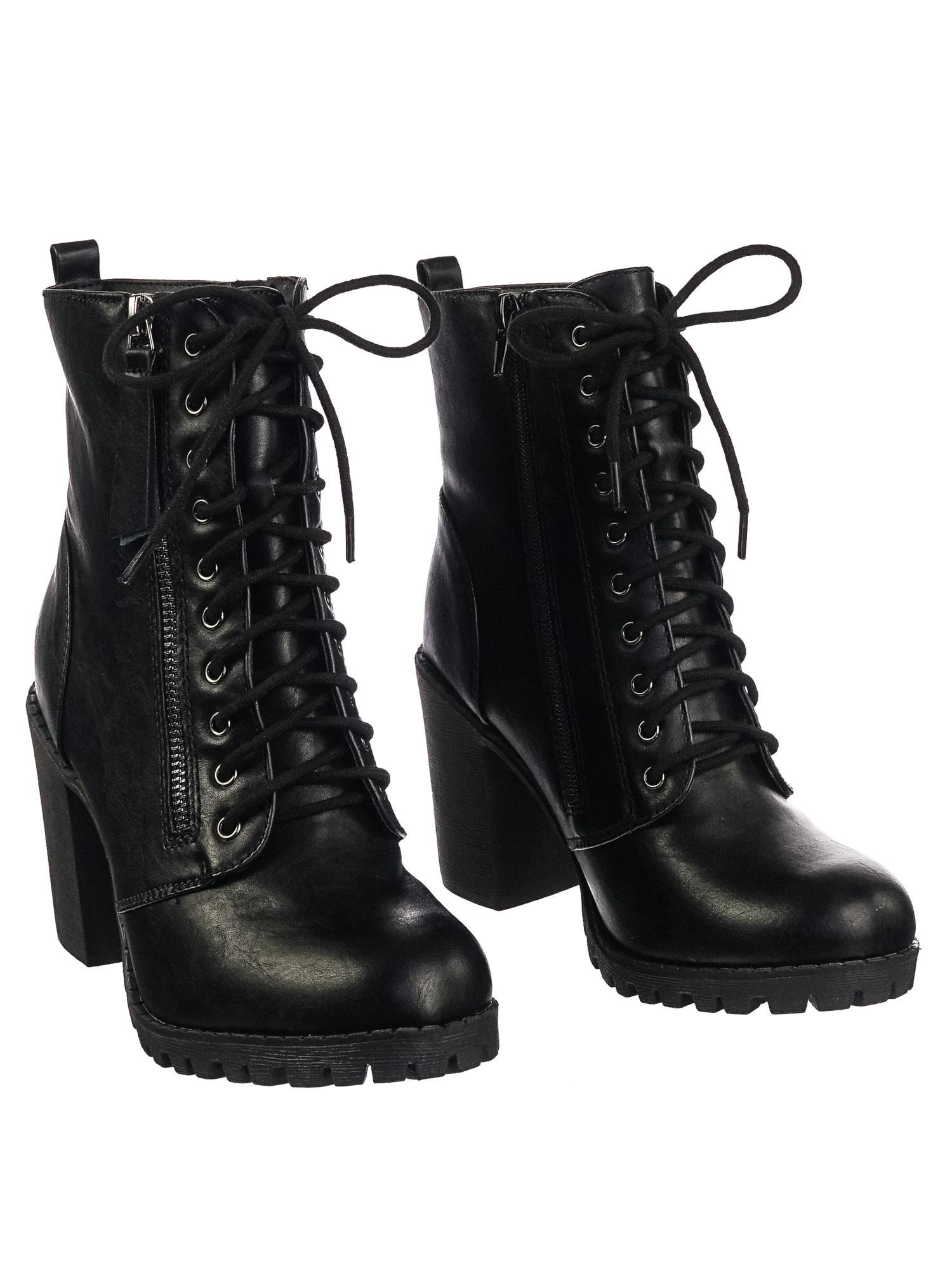 385afb83aa54 Malia Black Pu by Soda Military Lace Up Combat Ankle Boot On Chunky Block  Heel Lug
