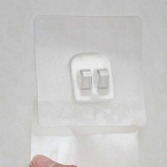 透明貼片 無痕貼 掛架 掛勾 掛鉤 黏膠掛鉤 吹風機架 壁掛架 鞋架 浴室 置物架 收納架 強力吸盤 廚房 無痕透明貼片掛勾♚MY COLOR♚ 【N312】