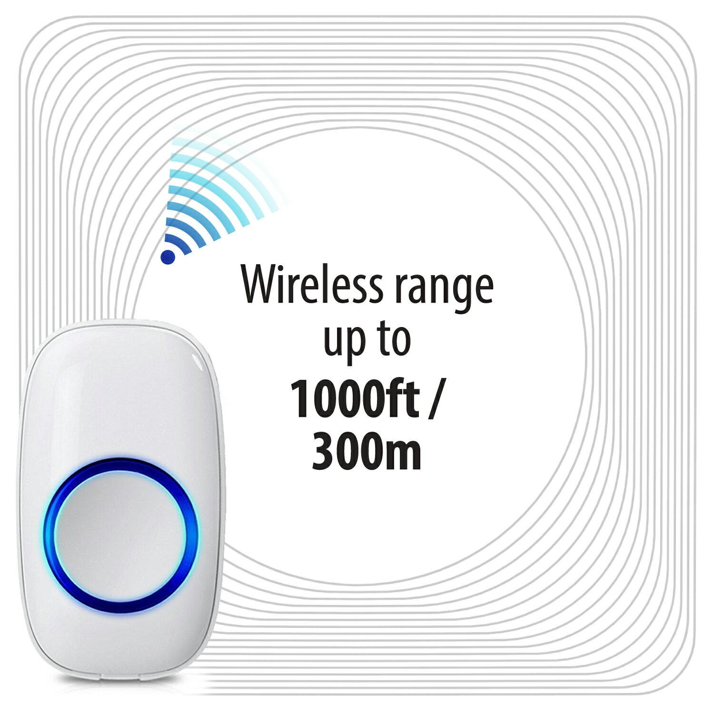 Fosmon WaveLink Wireless Doorbell with 1 Plugin Receiver + 2 Transmitter –  White