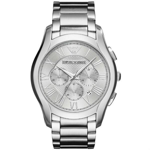 大高雄鐘錶城:EMPORIOARMANIAR11081亞曼尼紳士時尚計時腕錶銀面44mm