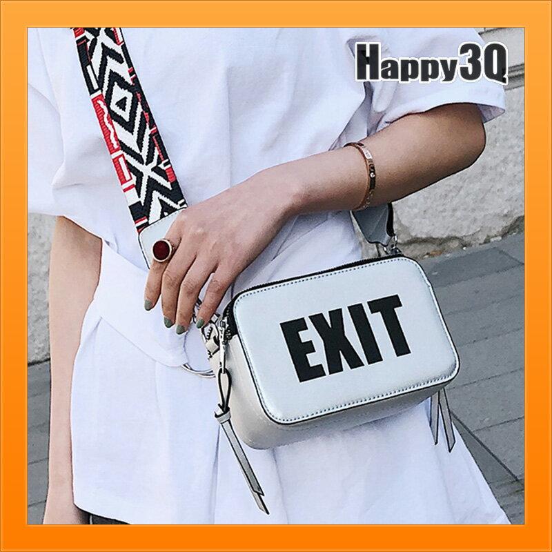 小方包隨身包單肩包女生包潮包英文字樣包潮流包EXIT方包~白  銀  黑~AAA4432~