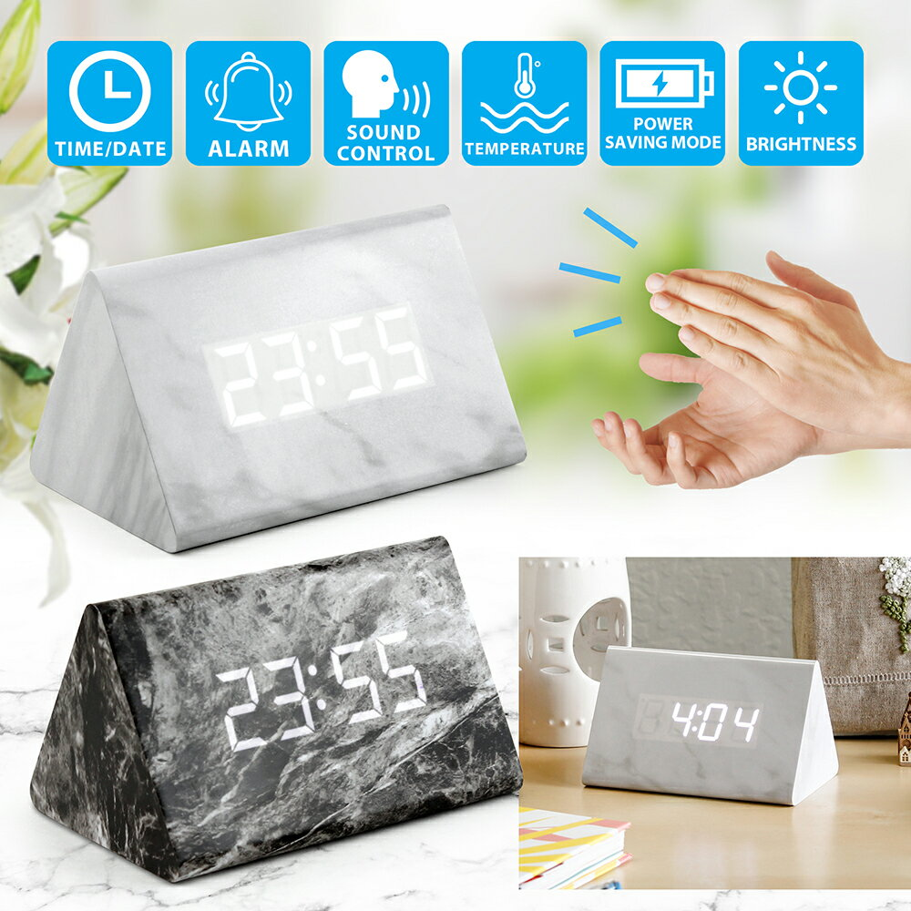 Marble Pattern Alarm Clock, Triangle Fashion Multi-function LED Desk Digital Alarm Clock with Snooze and USB Power Supply, Voice Control, Timer, Thermometer 0