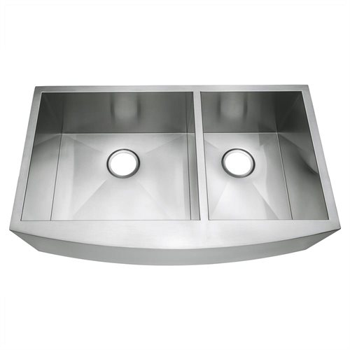 "33"" x 20"" x 9"" Stainless Steel Kitchen Sink Under Mount Apron Double Bowl HandMade 16 Gauge T-304 1"