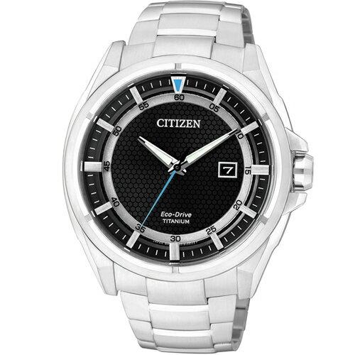 CITIZEN星辰AW1401-50E清雅超級鈦光動能腕錶/黑面43mm