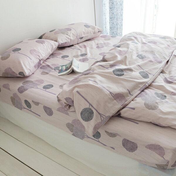 床包薄被套組雙人加大【小森之樹-粉色】含兩件枕套四件組,精梳棉台灣製絲薇諾