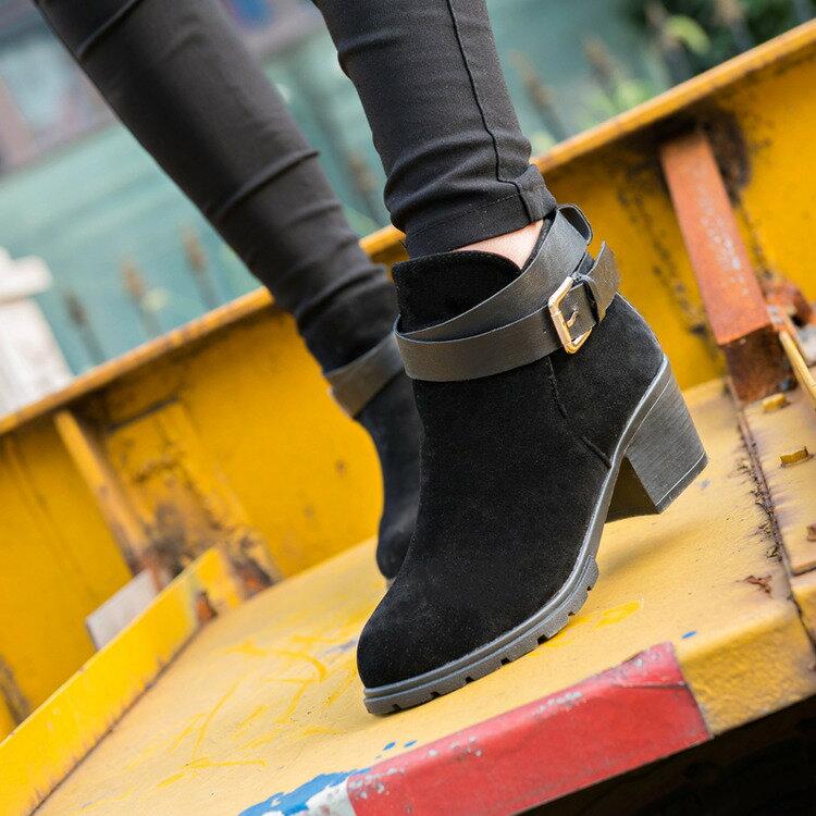 2016秋  高跟粗跟皮帶扣馬丁靴 短筒裸靴 女短靴磨砂皮