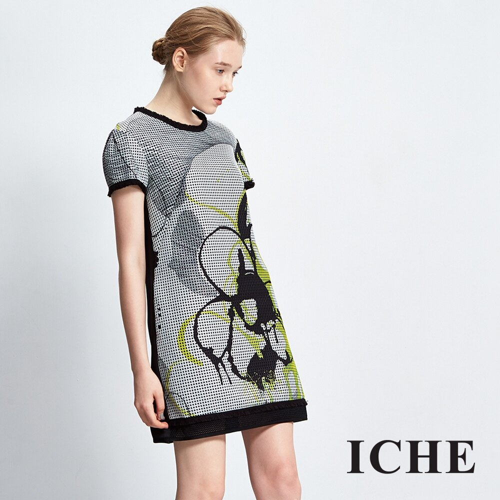 ICHE衣哲 造型印花拼接洋裝