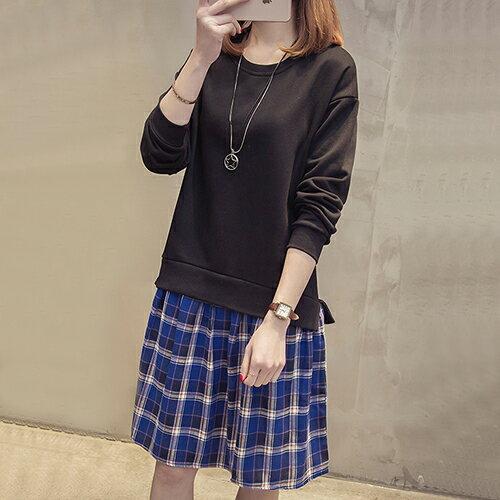 格子拼接連身裙(2色M~4XL)*ORead* 0
