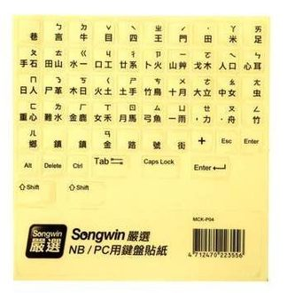 [NOVA成功3C]尚之宇 Songwin NB/PC用鍵盤貼紙-透明底黑字 喔!看呢來