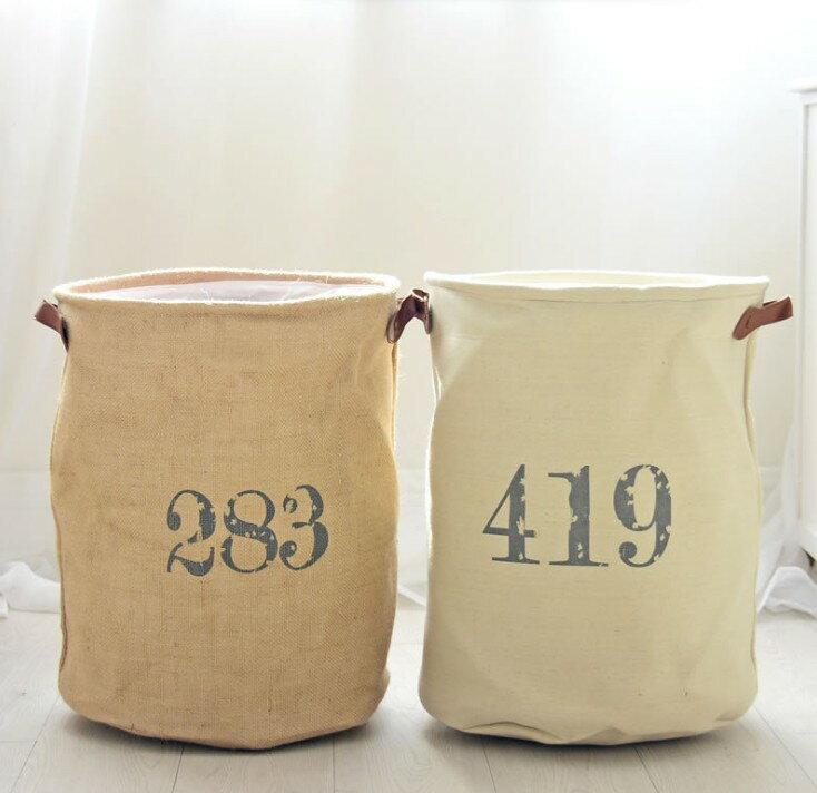 45*35家居裝飾收納兩用棉麻髒衣桶 EVA加厚底襯 內衣整理收納筐/單售