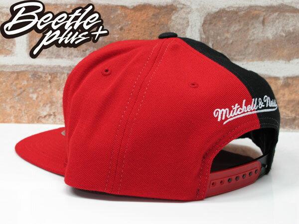 BEETLE MITCHELL&NESS NBA BULLS 芝加哥 公牛 黑紅 雙色 半剖 SNAPBACK 後扣帽 1