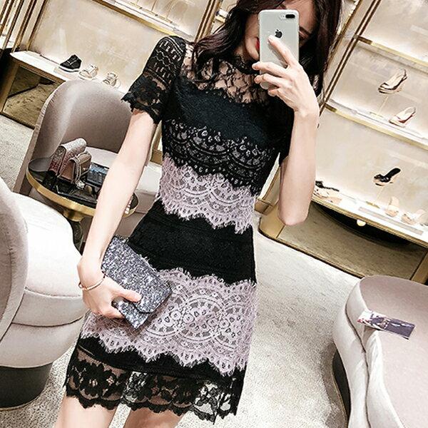 《全店75折》韓國性感修身蕾絲拼接連身裙短袖洋裝(S-XL)-梅西蒂絲(現貨+預購)