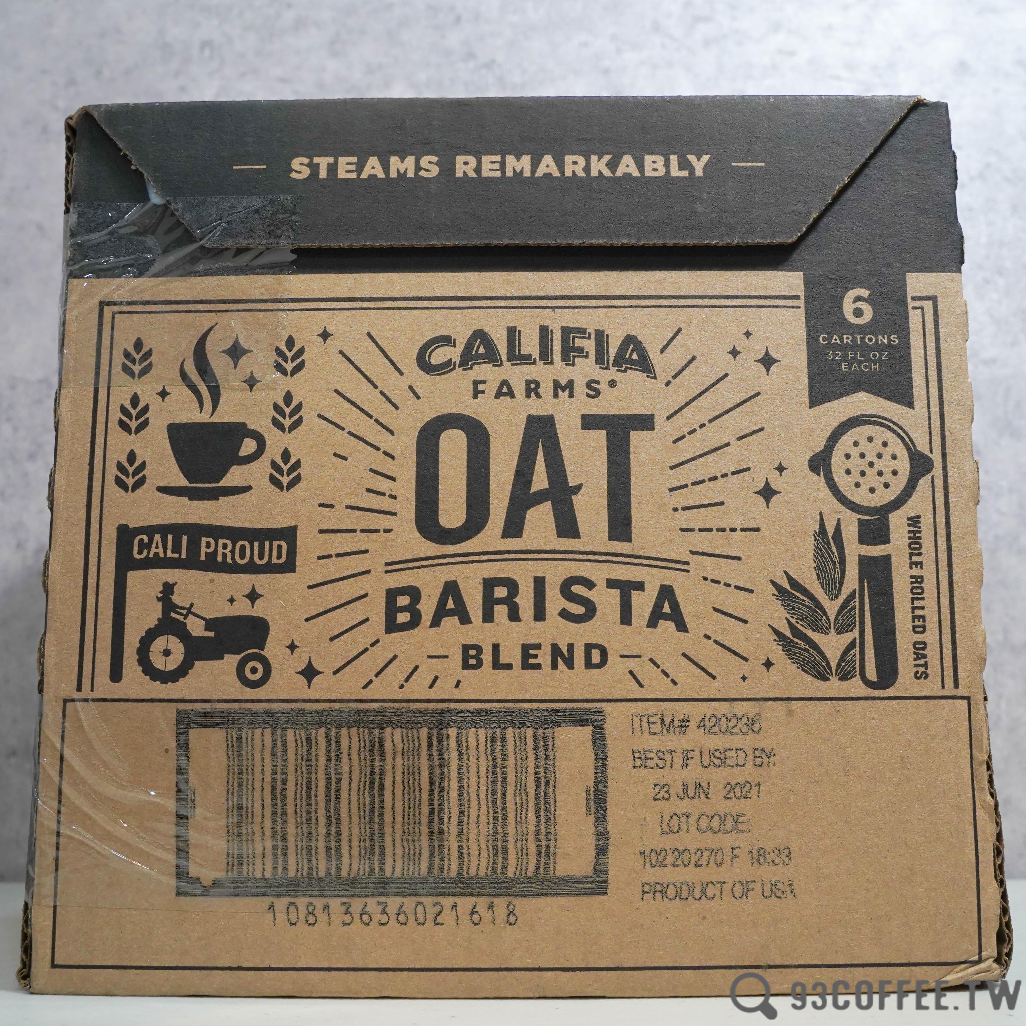 美國 Califia Farms 燕麥奶 (咖啡師配方) 杏仁奶 946ml『93 Coffee Wholesale』