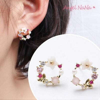 耳環《可改耳夾式》S925純銀針粉彩水晶鋯石珍珠花環耳針【RA0104】