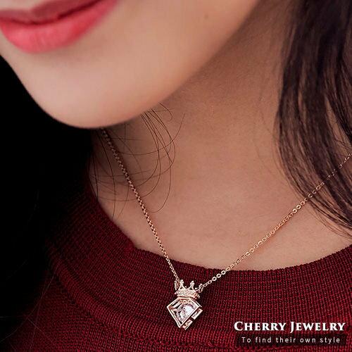 立體小皇冠鑽石造型鎖骨鏈【櫻桃飾品】【10448】