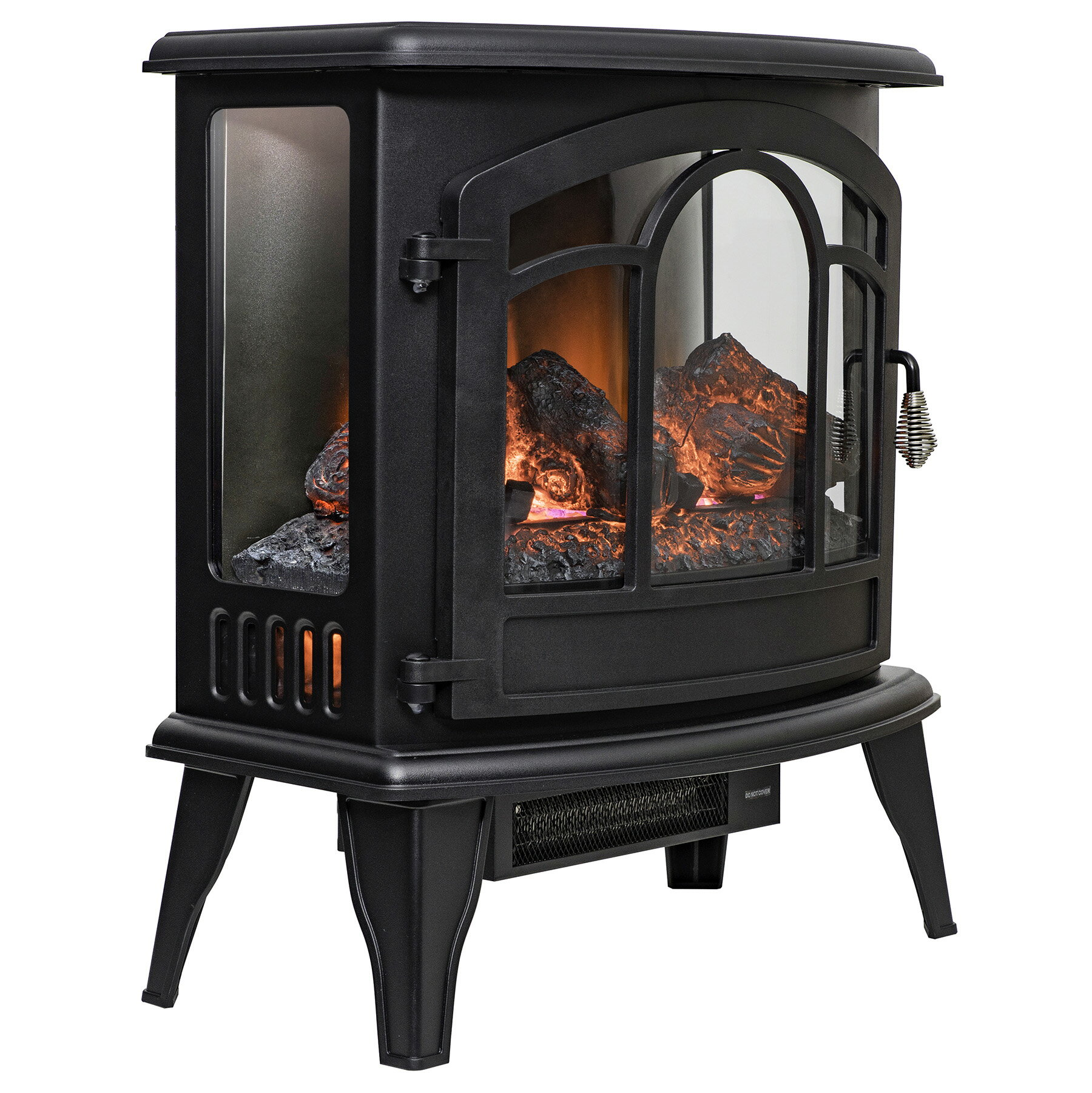 "AKDY 20"" Black Finish Freestanding Portable Electric Fireplace Firebox w/ Logs & Remote 3"
