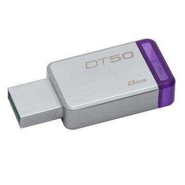 【新風尚潮流】 金士頓 隨身碟 DT50 USB 3.1 8G 紫標 無蓋式設計 金屬外殼 DT50/8GB