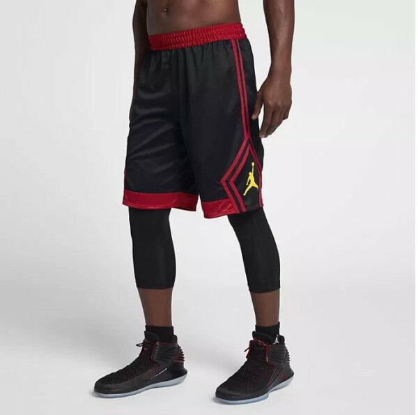 NIKEJORDANASRISEDIAMOND男裝籃球褲鑽石飛人透氣黑紅黃【運動世界】887439-015