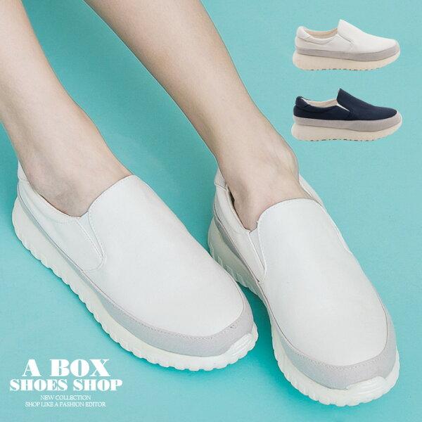 【AAD5582】套腳懶人鞋 休閒布面鞋 3.5CM厚底包鞋 PU拼接布面材質 2色