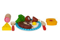 Deals on Toysters Wooden Breakfast Cutting Play Food Set AT751