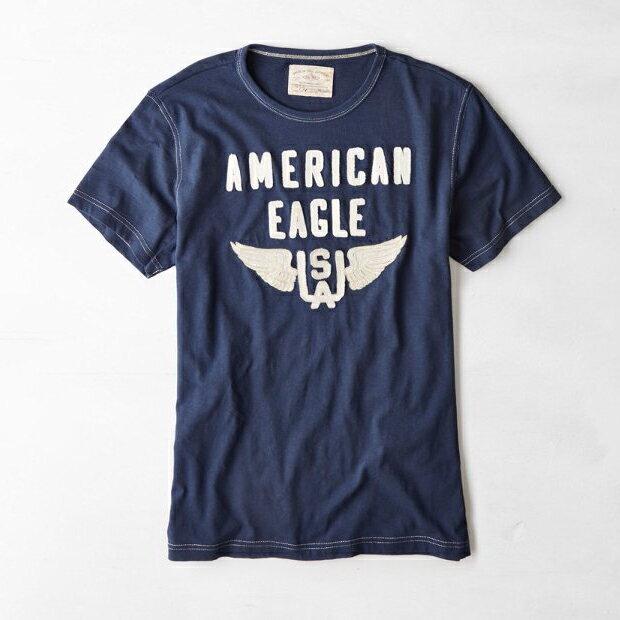 美國百分百【American Eagle】T恤 AE 短袖 上衣 T-shirt 老鷹 深藍 貼布 男 XS號 F254