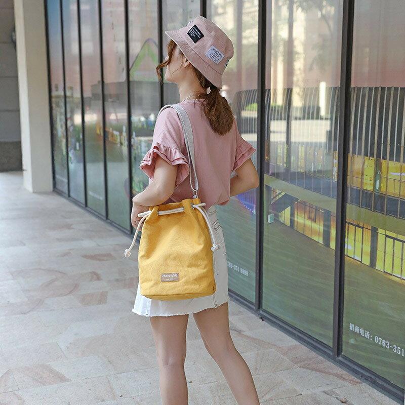 手提包帆布側背包-純色休閒純棉水桶包女包包6色73xb18【獨家進口】【米蘭精品】