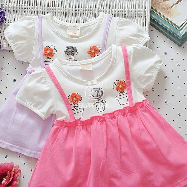 女童短袖洋裝 立體花朵假兩件吊帶連身裙 寶寶童裝 UG30701 好娃娃