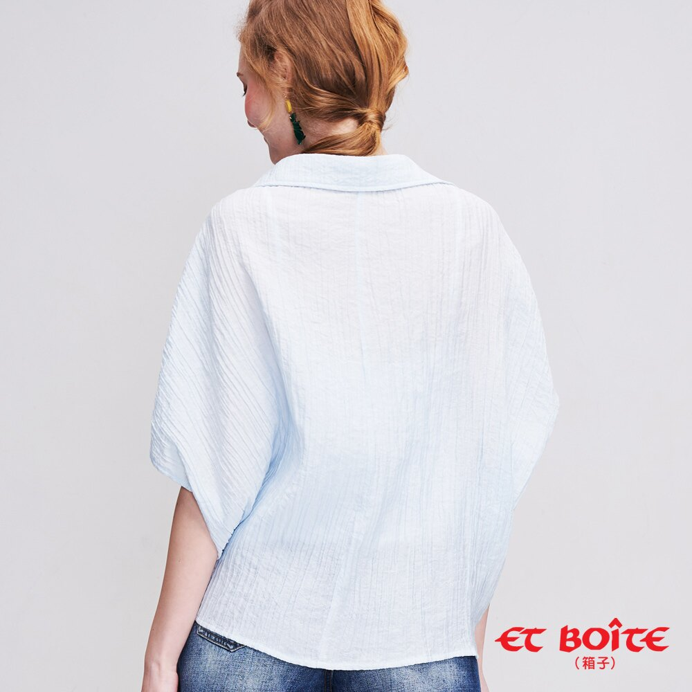 ET BOiTE 箱子 夏日渡假風綁結襯衫(淺藍) 2