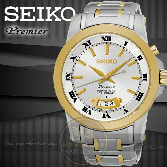 SEIKO日本精工PREMIER都會典藏萬年曆紳士腕錶6A32-00X0K/SNQ148J1公司貨