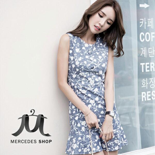 ^~ 6折^~ 小清新荷葉裙擺修身無袖洋裝~S~XL ~ 梅西蒂絲^(  ^)