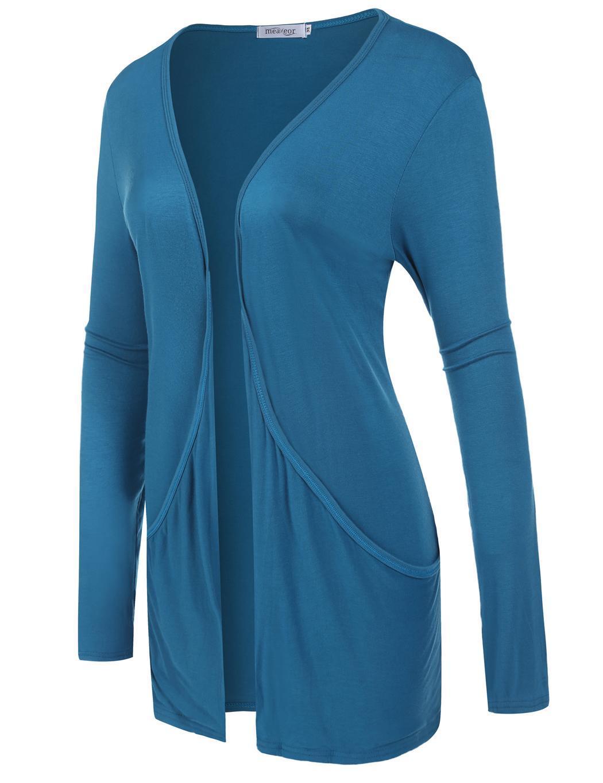 Women Long Sleeve Solid Cardigan Front Pocket Outwear 4