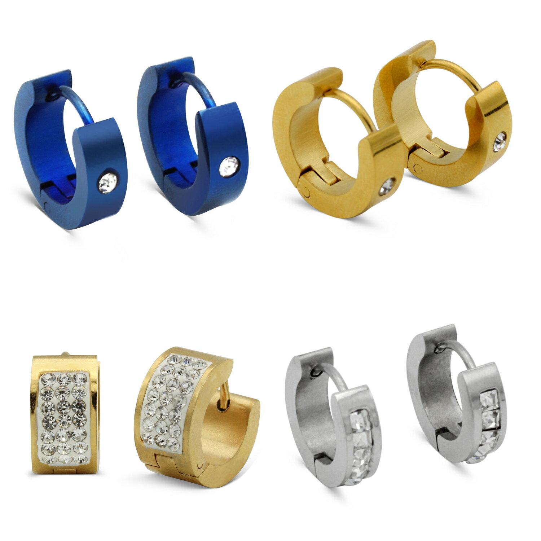 fd22fdcbcf743 Huggie Hoop Earrings Stainless Steel Fashion Jewelry with Cubic Zirconia  Stone Ear Hug Hoops Hinge Clasp Gift for Men Women