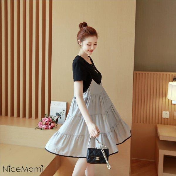 *漂亮小媽咪*韓國吊帶連衣裙兩件式娃娃裙短袖孕婦連衣裙洋裝孕婦裝D1013TH