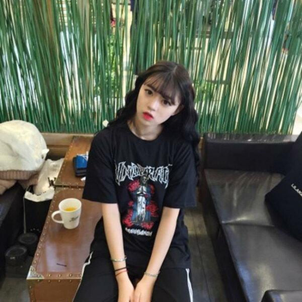 50%OFF SHOP【G022630C】實拍韓國BF風玫瑰骷髏後背火焰短袖字母印花寬鬆T恤