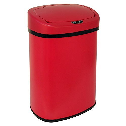 13-Gallon Touch-free Sensor Automatic Stainless Steel Trash Can - Red