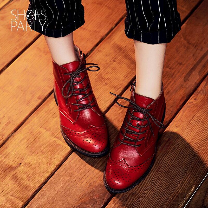 【B2-16819L】真皮綁帶牛津短筒靴_Shoes Party 3