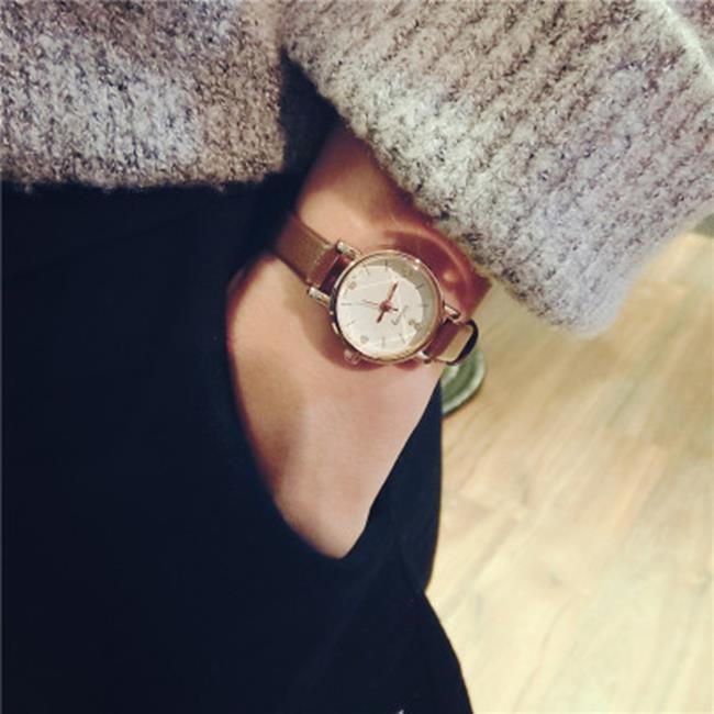 50%OFF【H019045WAH】韓國簡約鏈女生手錶學生韓版原宿復古小錶盤女表皮帶休閒石英潮表