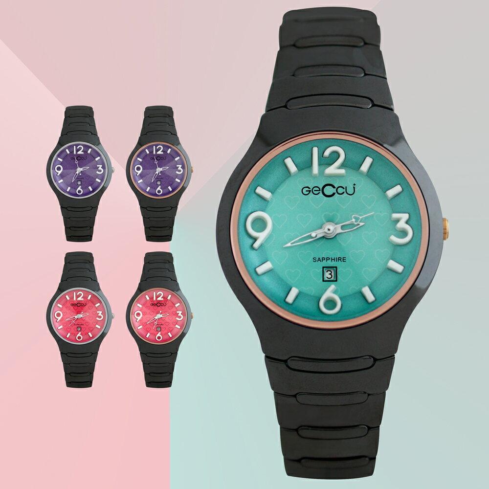 GECCU TC-1115 炫麗可愛心型切玻鏡面黑色陶瓷錶帶*5色 0
