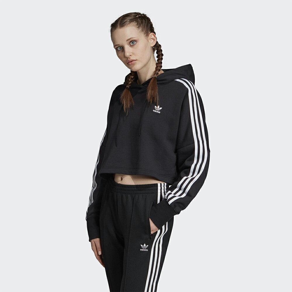 Adidas Original Cropped Hoodie 女裝 長袖 連帽T恤 短版 三葉草 三條線 純棉 黑【運動世界】ED7554