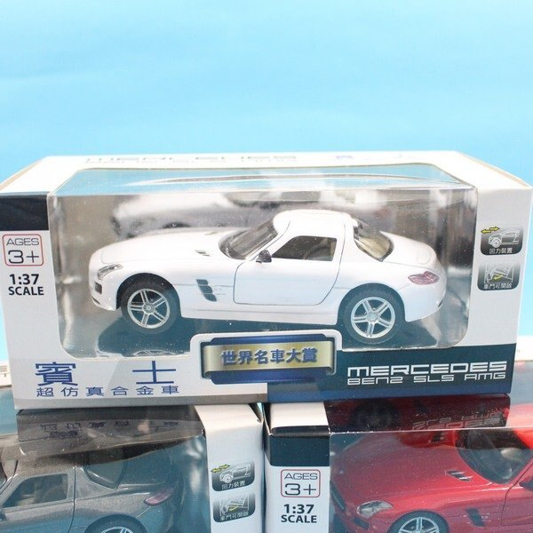 Benz模型車 合金車 (4號白盒)1:37 / 一台入 { 促199 }  Mercedes-Benz SLS AMG 賓士模型車 迴力車 生TOP307 2