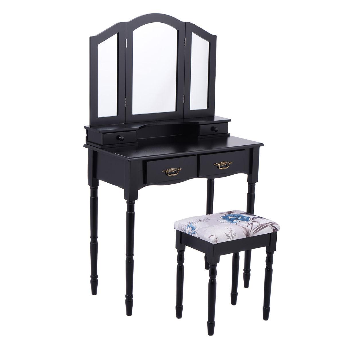 Costway Black Tri Folding Mirror Vanity Makeup Table Stool Set Bathroom W 4 Drawers 2