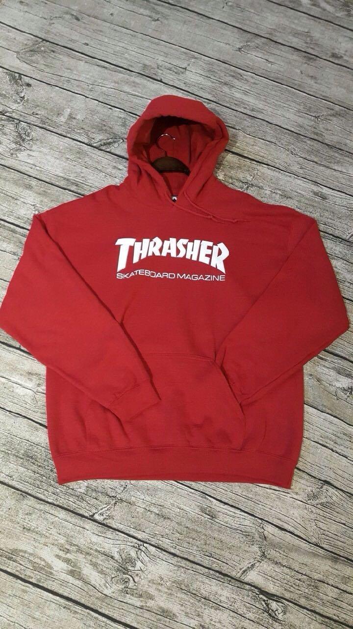 THRASHER 紅帽T!版型正常!圖中麻豆身高165、52!穿L!尺寸有L&S