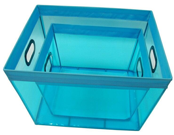 【凱樂絲】方型水藍色透明塑膠收納籃。居家多功能收納