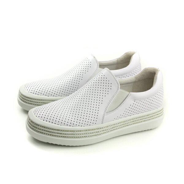 HUMAN PEACE:HUMANPEACE牛皮懶人鞋厚底增高休閒白色女鞋6939no324